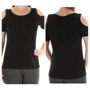 Calvin Klein Contrast Piping Cold Shoulder Top S